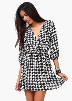 Houndstooth Wrap Dress.     For Great Sports Stories and Audio Podcasts Visit our Blog at www.RollTideWarEagle.com