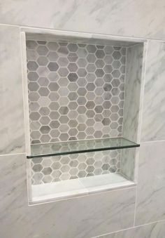 Marble Tile Shower Niche in Merced district, San Francisco Marble Tile Shower N Tile Shower Niche, Diy Shower, Small Bathroom, Upstairs Bathrooms, Bathrooms Remodel, Bathroom Decor, Remodeling Tools, Tile Bathroom, Marble Tile