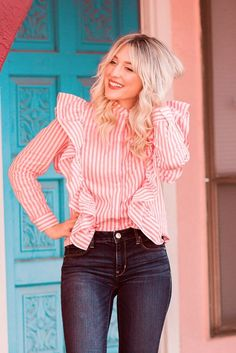 To find out about the Vertical Striped Hidden Button Frill Blouse at SHEIN, part of our latest Blouses ready to shop online today! Fancy Tops, Dressy Tops, Cool Outfits, Casual Outfits, Fashion Outfits, Handmade Clothes, Diy Clothes, Frill Blouse, Dresses Kids Girl