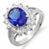 Share Kate Middleton Diana Replica Platinum Plated Silver Tone Cubic Zirconia Oval Blue Sapphire CZ Cubic Zirconia Engagement Ladies Ring (0.67 inch x 0.57 inch) - Dazzling Rock #https://www.pinterest.com/dazzlingrock/
