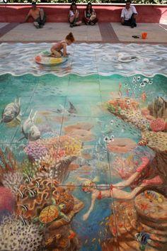 3D chalk, mundo submarino