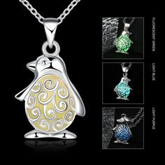 Luminous Penguin Necklace (3 colors). 30% proceeds from every purchase goes to animal charities.