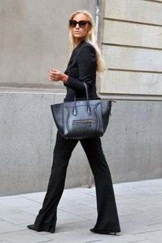 Business chic in black suit paired w/ Céline Boston bag #StreetStyle