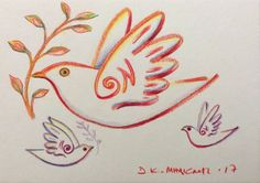 Milionis - Mythical Birds - Original Signed Colored Drawing  on Paper Greek Art #Modernism