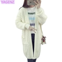 YAGENZ Women Warm Sweater Coat New Autumn Knit Cardigan Sweater Lady white Long section Fashion Women temperament Clothing A121 #Affiliate