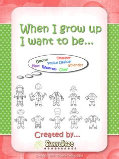 Free & Cute activity! When I grow up I want to be...