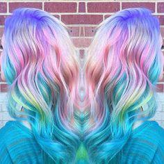 Candy coated rainbow hair color. pastel hair unicorn hair mermaid hair hotonbeauty.com