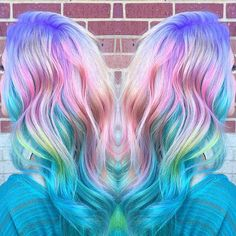 Candy coated rainbow hair color. pastel hair unicorn hair mermaid hair hotonbeauty.com