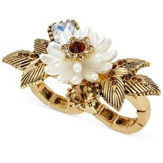 Betsey Johnson Ring, Antique Gold-Tone Imitation Pearl Flower Two-Finger Ring