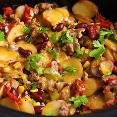 This CROCKPOT COWBOY CASSEROLE takes minutes to assemble and is a hit with whoever tries it -- making it perfect for tailgating! Thanks to for amping up the flavor! Crockpot Cowboy Casserole, Hamburger In Crockpot, Casserole Recipes, Hamburger Potato Casserole, Healthy Crockpot Recipes, Slow Cooker Recipes, Cooking Recipes, Healthy Food, Crock Pot Soup
