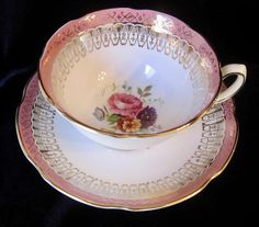 Royal Grafton Bone China Tea Cup and Saucer - Pink Border and Gold Scrolls - Flowers - #8681 - England