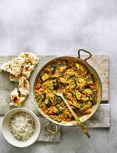 Cook aubergine pieces with fragrant spices and red lentils for a hearty yet healthy vegan curry