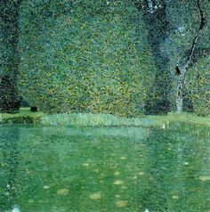 "Gustav Klimt (Austrian, 1862-1918) ~ ""Pond at Schloss Kammer on the Attersee"", 1909 ~ Oil on canvas, 110 x 110 cm"