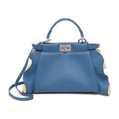 Fendi Peekaboo Mini Ruffled Leather Satchel (205.730 RUB) ❤ liked on Polyvore featuring bags, handbags, satchels, blue leather handbags, mini satchel, leather purses, leather satchel purse and blue purse