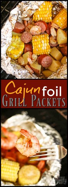 We love these Cajun Style Grill Foil Packets in the summertime. They don't h… We love these Cajun Style Grill Foil Packets in the summertime. They don't heat up the house, the whole family loves them, and there is NO MESS! via Favorite Family Recipes Foil Packet Dinners, Foil Pack Meals, Tin Foil Dinners, Hobo Dinners, Grilling Recipes, Cooking Recipes, Healthy Recipes, Grilling Ideas, Smoker Recipes