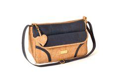 Shoulder cork bag, with zip. Adjustable strap - OSAKA Blue
