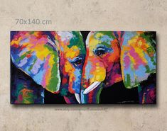 ABOUT PRODUCT **this item express shipping time takes 7-10 days** Colorful abstract elephant acrylic on canvas wall decor by artist Sumaree Nunsang from Thailand. The painting not ready to hang, It is no frame. This is hand painted not a print. The paintings were repeated from one piece to