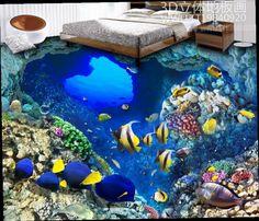 49.89$  Watch here - http://alirxy.worldwells.pw/go.php?t=32702525285 - custom wallpaper 3d mural self-adhesive wallpaper 3d flooring waterproof wallpaper Tropical Fish 3d floor kitchen wallpaper