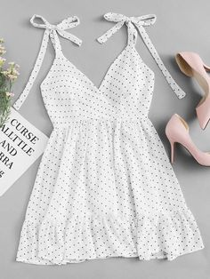 Black and white Polka Dot Ruffle Hem Cami DressFor Women-romwe romantic feminine style affordable fashion cheap dress bow tie strap babydoll baby doll fit and fare flattering dress for petite women teen style flatlay flat lay inspiration light. Flattering Dresses, Trendy Dresses, Tight Dresses, Cheap Dresses, Women's Dresses, Cute Dresses, Dress Outfits, Casual Dresses, Cute Outfits