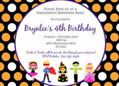 Halloween Kids Birthday or Costume party invitation