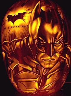 Dark Knight Batman carved pumpkin