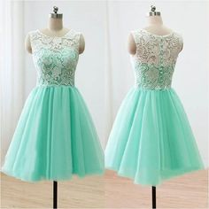 Mint Tulle with Ivory Lace Homecoming Dresses,short prom dress,mint prom dress,lace cocktail dresses