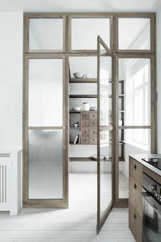 #Pantry with #glazed_doors by  #Kobenhavns_Mobelsnedkeri; photo by Heidi Lerkenfeldt. Remodelista