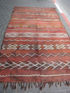 Vintage Antique Moroccan Wool Kilim Rug Hand Made 270x153 Cm 106 2x60 2 Inches Ebay