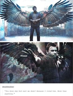 """[gifset] """"You know why God cast me down? Because I loved him."""" ~ Lucifer fanart<< that looks awesome Supernatural Fans, Castiel, Supernatural Engel, Supernatural Wallpaper, Satan, Sam Winchester, Lucifer Wings, Mark Pellegrino, Fanart"""