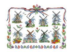 Cross stitching pattern , Dutch mills, tulip and Boerenbont motive