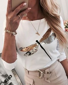 Dragonfly Sequin Tshirt Women Casual Long Sleeve White T-shirt 2020 Spring Harajuku Lady Round Neck Tee Shirt Femme Plus Size Trend Fashion, Womens Fashion, Style Fashion, Fashion Spring, Blouse H&m, Pull Rose, Style Streetwear, Style Feminin, Mode Jeans