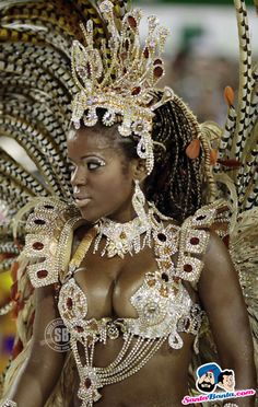 A reveller from the Salgueiro samba schooll takes part in a parade on the second night of the annual Carnival parade in Rio de Janeiro's Sam...