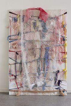 Astrid Svangren tvinna, virvla, inte längre, men oändligt, 2013 acrylic paint, oil, watercolor, fabric, bubble wrap 150x100cm