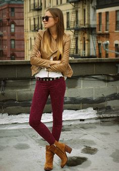 Burgundy skinny trousers with cowboy ankle boots and a modern leather jacket in camel - modern cool sexy!