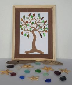 Bunch Of Branches Beautiful Branches! 25+ Pieces of Multi Colored Seaglass !! Framed 5x7 $75.00  Free Shipping  #seaglass #beachglass #art #seaglassart #novascotia