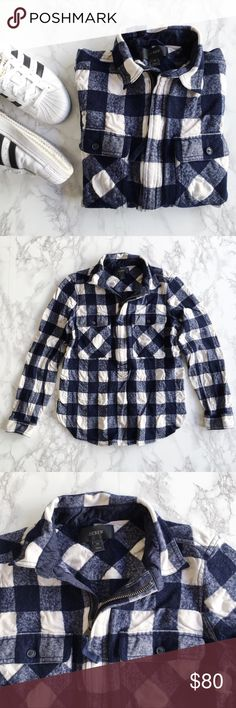 J. Crew buffalo plaid zip flannel This top is a cool new take on the classic button-up flannel. Pre-loved in excellent condition! J. Crew Tops