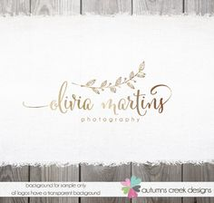Premade Photography Logo -  hand drawn Gold Leaf Script Name Watermark Design Name Text Logo
