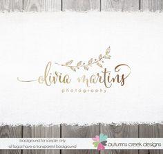 logo - photography Logo - logo design - Photography Logo Gold Leaf Text Flowy Modern Premade Boutique Logo Design