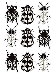 Multi Geometric Bug Print by Pale Face Ilustration.