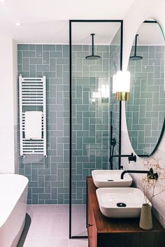 sink area, mirror, shower, subway tile