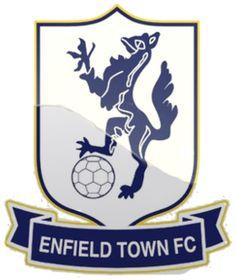 Enfield Town of London, England crest. London Football, British Football, Football Team, Premier League, Messi, Enfield Town, Sports Clubs, Basketball