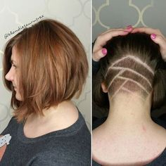 Super Cool Undercut Aline Bob By . Trending Hairstyles, Bob Hairstyles, Hair Styles 2016, Short Hair Styles, Badass Haircut, Aline Bob, Stacked Haircuts, Korean Short Hair, Undercut Bob
