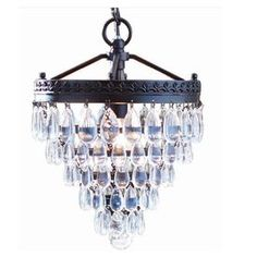 allen   roth 9.06-in W Oil-Rubbed Bronze Pendant Light with Crystal Shade