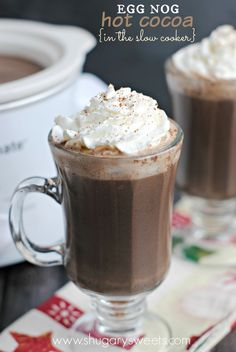 Slow Cooker Egg Nog Hot Cocoa: you can make on stove top too! It's so creamy and delicious! @shugarysweets