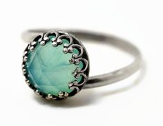 8mm Opal Ring Blue Opal Engagement Ring Peruvian by fifthheaven