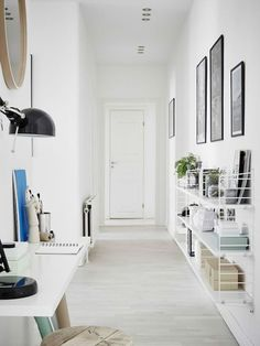 Grey / white and a cute kids room in a lovely Swedish space (my scandinavian home) Hallway Walls, Hallway Furniture, Furniture Decor, Hallways, Hallway Shelf, Hallway Paint, Wall Shelves, Entryway Decor, Hallway Inspiration