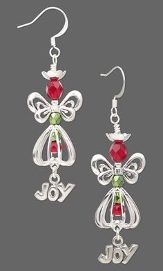Earrings with Silver-Plated Brass Drops, Antiqued Silver-Plated Pewter Beads, Czech Fire-Polished Glass Beads and Antiqued Pewter Charms