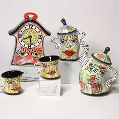 Abstract designs on Mayco Colors' Dancing Clock Tea Set