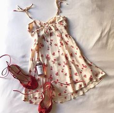 The outfit of our dreams ❤️ Cherry Tank Dress & Suede Heel Indie Outfits, Fashion Outfits, Cute Dresses, Casual Dresses, Casual Outfits, Pretty Outfits, Cute Outfits, Nasa Clothes, Mode Ootd