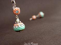 Boucles d'oreilles Méli en corail & turquoise -084 de Sous la Mansarde sur DaWanda.com